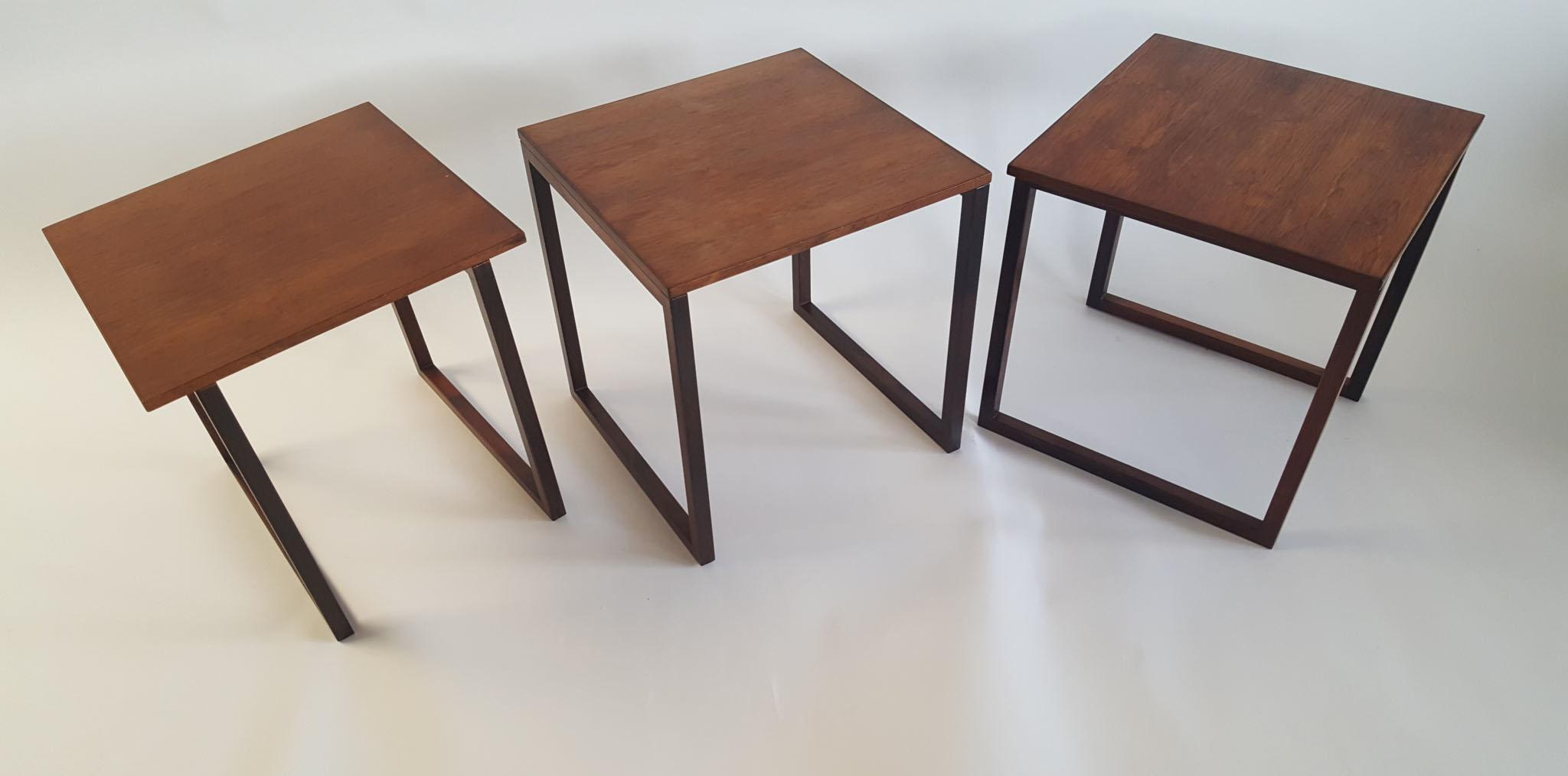 Danish Modern Rosewood Cube Nesting Tables   Set Of 3   Image 3 Of 8