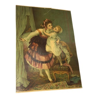 """1879 Victorian Realism Lithograph, """"Goodnight Kiss"""""""