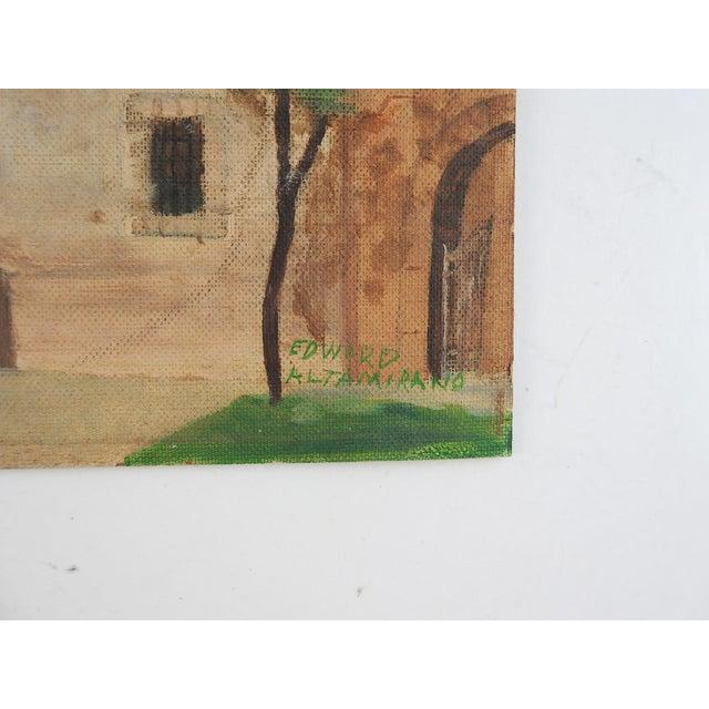 Oil on canvas board of the Alamo, San Antonio, Texas. Signed Edward Altamirano lower right corner. Unframed.