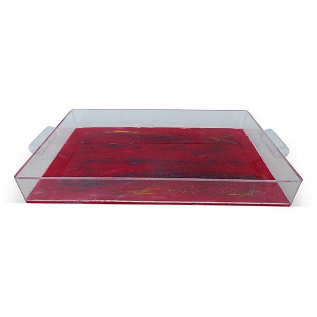 Lucite Tray With Abstract Painted Bottom - Image 1 of 4
