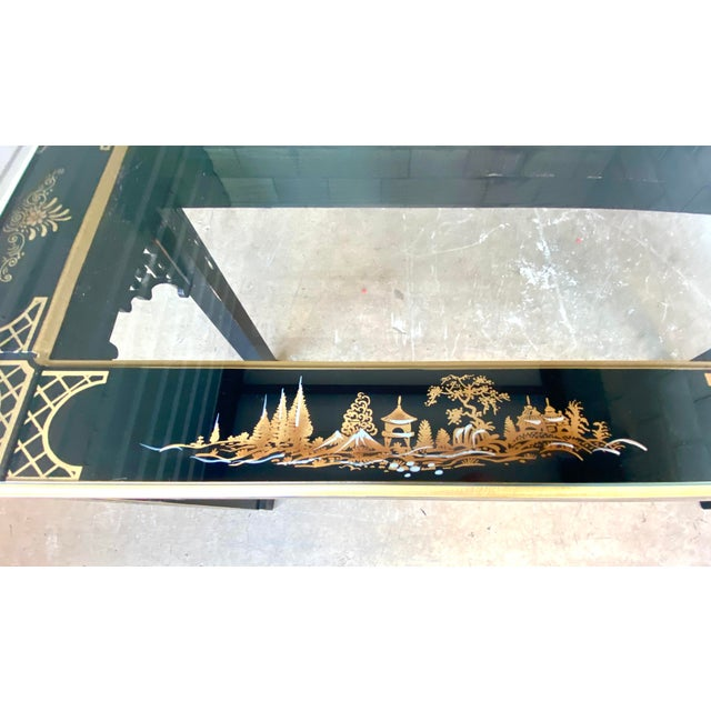 Hollywood Regency Chinoiserie Fretwork Console Table For Sale - Image 4 of 10