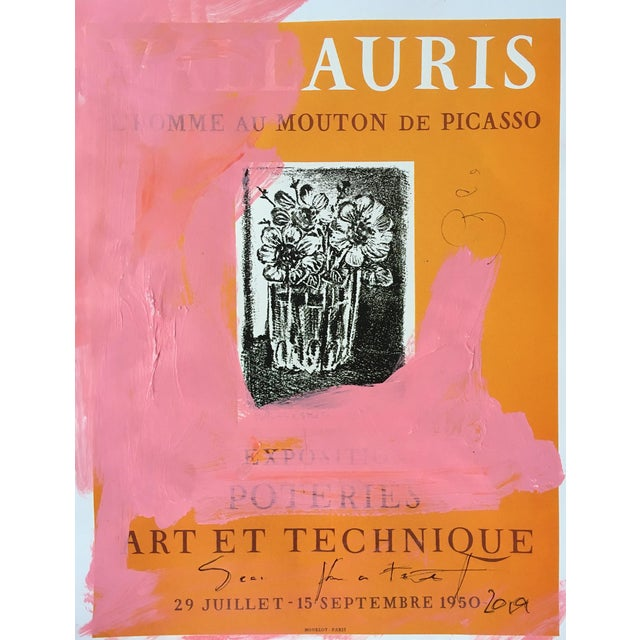 Abstract Framed Picasso Poster Painting by Sean Kratzert 'Pink Auris' For Sale