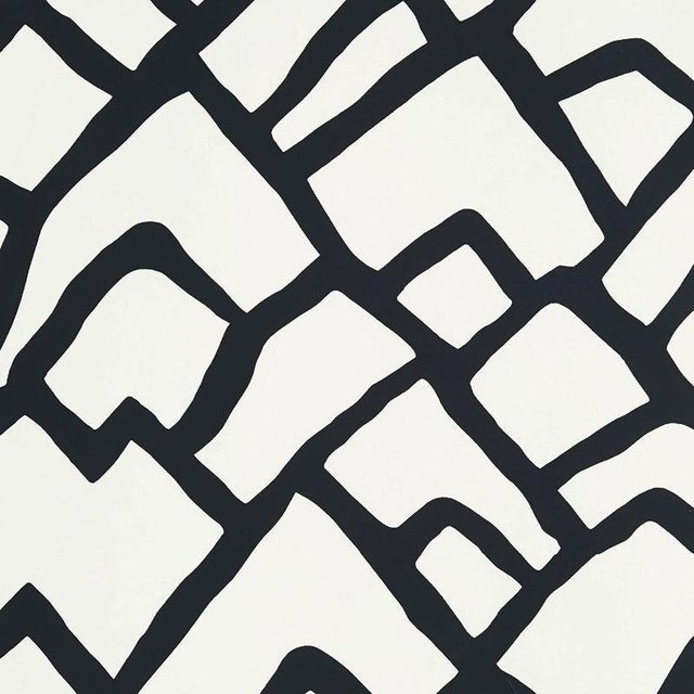 Schumacher Zimba Stripe Geometric Wallpaper in Black - 2-Roll Set (10 Yards) For Sale