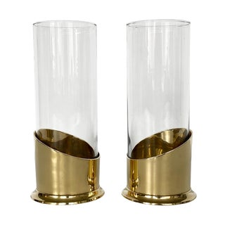 Pair of Brass and Glass Hurricane Candleholders / Vases For Sale