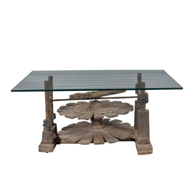 Vintage Charkha Wooden Coffee Table For Sale