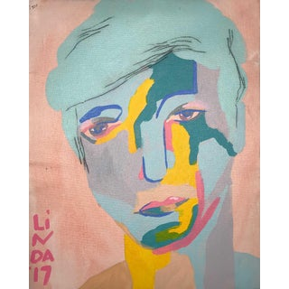 "Contemporary Abstract Portrait Painting ""Handsome Babe, No. 2"" For Sale"