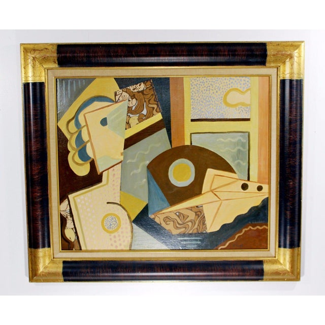 Cubist Style Framed Painting Signed H. Riedel For Sale - Image 10 of 10