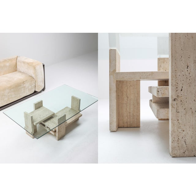 Tan Travertine Postmodern Coffee Table - 1970s For Sale - Image 8 of 10
