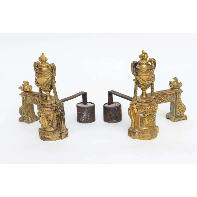 Louis XV Gilt Bronze Chenets - A Pair For Sale - Image 4 of 10