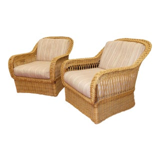 Vintage Bielecky Brothers Rattan Arm Chairs- a Pair For Sale