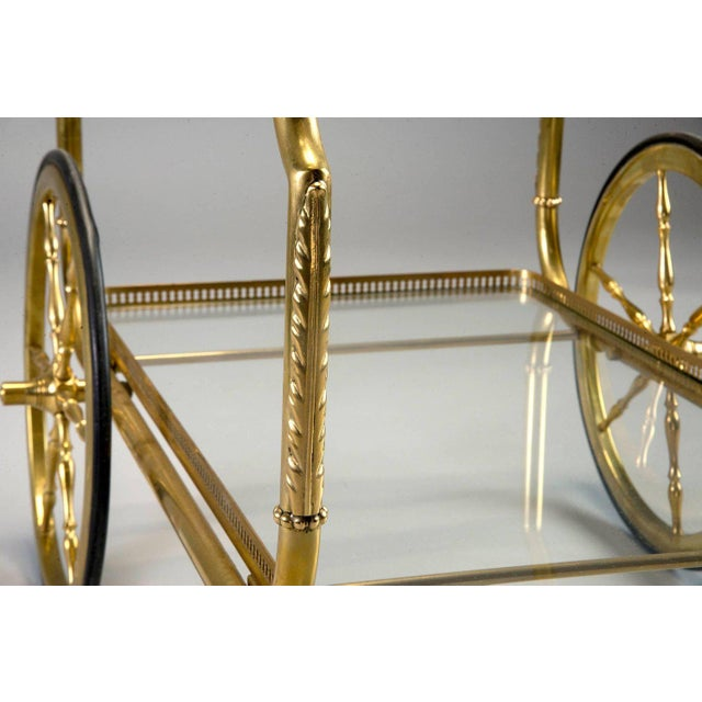 Gold French Brass and Glass Bar or Tea Trolley For Sale - Image 8 of 11
