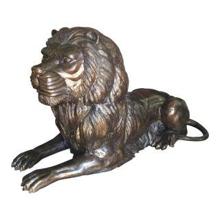 "Bronze Lion Sculpture 48"""