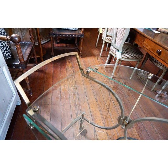 French Brass and Glass Service Table For Sale In New Orleans - Image 6 of 10