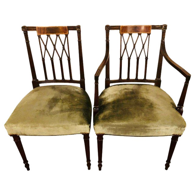Set of Twelve Sheridan Style Dining Chairs With New Upholstery For Sale