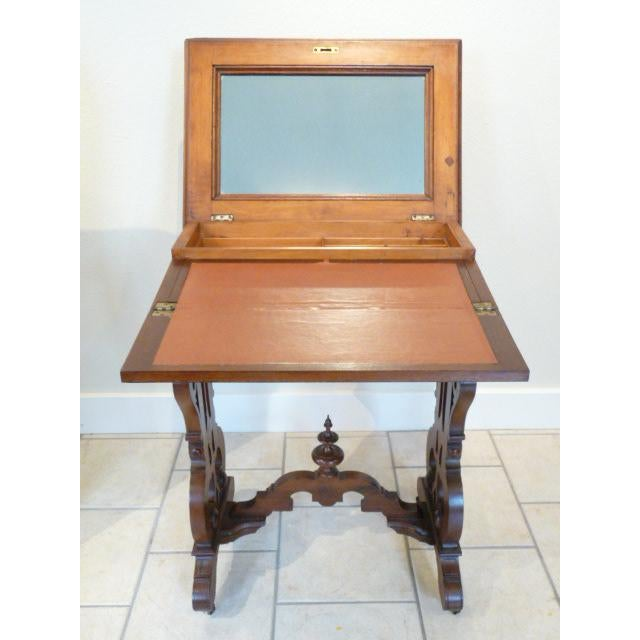 Belle Epoque 1860's Victorian Walnut Lift Top Writing Desk For Sale - Image 3 of 10