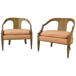 Pair of Wood Frame Armchairs For Sale