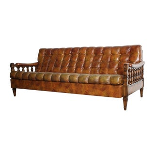1970s Spanish Revival Tortoiseshell Tufted Sofa