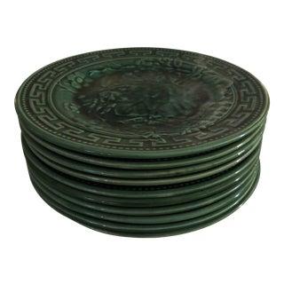 Antique 1880s Majolica Green Leaf Motif Plates - Set of 10 For Sale