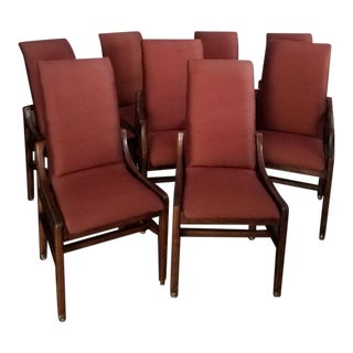 Mid Century Modern Henredon Scene 1 Walnut Dining Chairs - Set of 8 For Sale