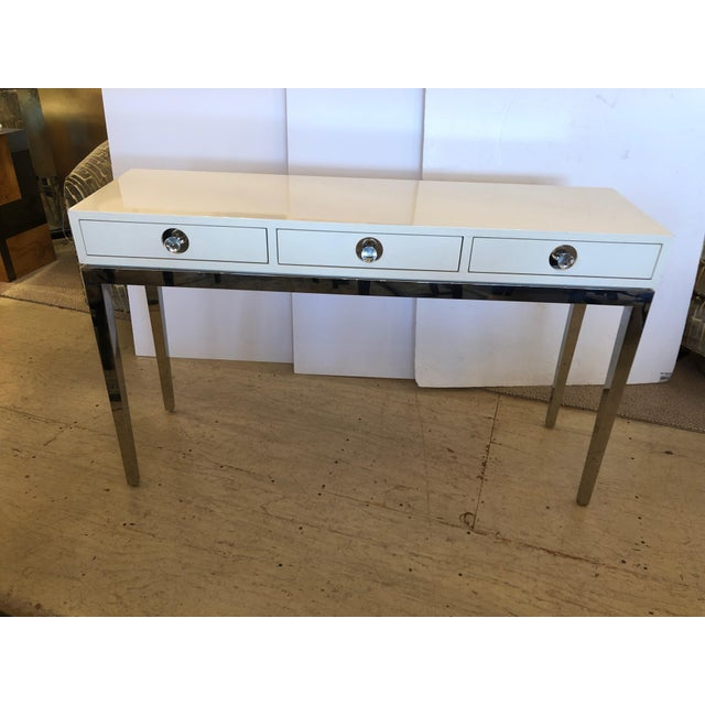 Chrome Contemporary Jonathan Adler White Lacquer and Chrome Console For Sale - Image 7 of 12