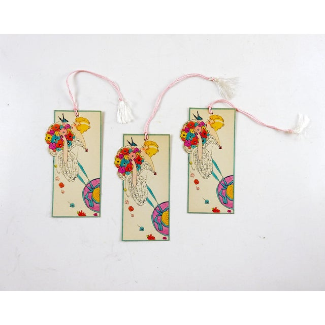 Set of 3 circa 1930's Art Deco die cut bridge tally cards. Pretty girl with flowers and butterfly, unused. Great graphics,...