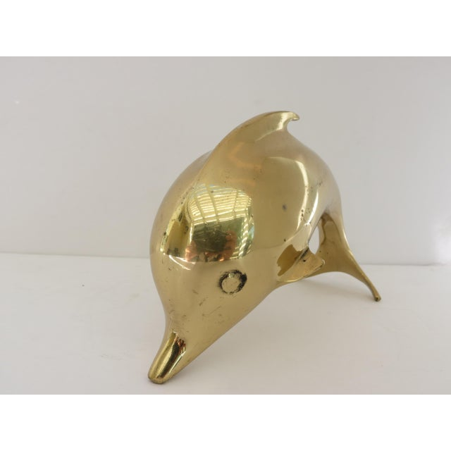 Contemporary 1980s Contemporary Brass Dolphin Figurine For Sale - Image 3 of 6