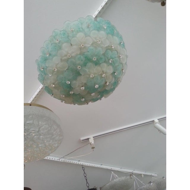 Metal Mid-Century Modern Murano Flush Mount Chandelier Floral For Sale - Image 7 of 12