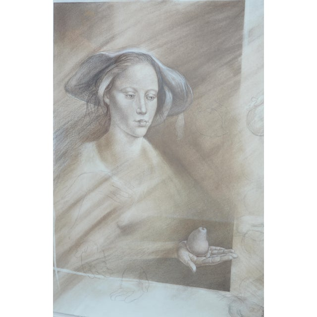 White Set of Two Pencil and Charcoal Portraits For Sale - Image 8 of 11
