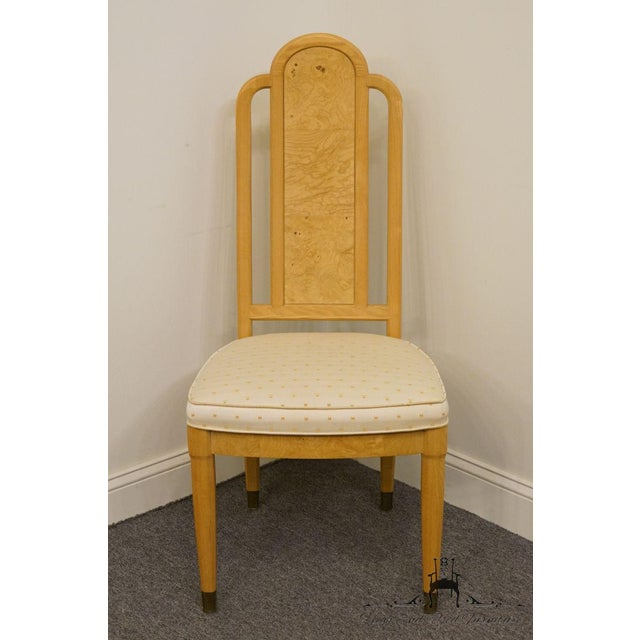 Contemporary Henredon Scene Two Burled Olive Splat Back Dining / Side Chair For Sale - Image 3 of 13