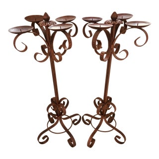 Vintage 1980s Southwest Copper Finish Candelabras - a Pair For Sale