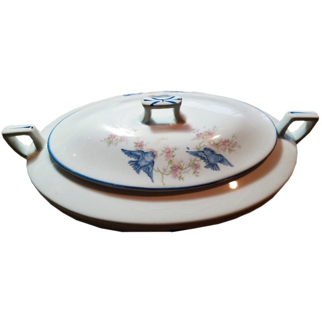 "This Blue Bird China covered Casserole by Homer Laughlin is an ""Empress,"" style, with an oval shape. The casserole dish..."
