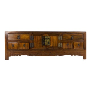 Late 18th Century Antique Chinese Elm Wood Low Kang Chest For Sale