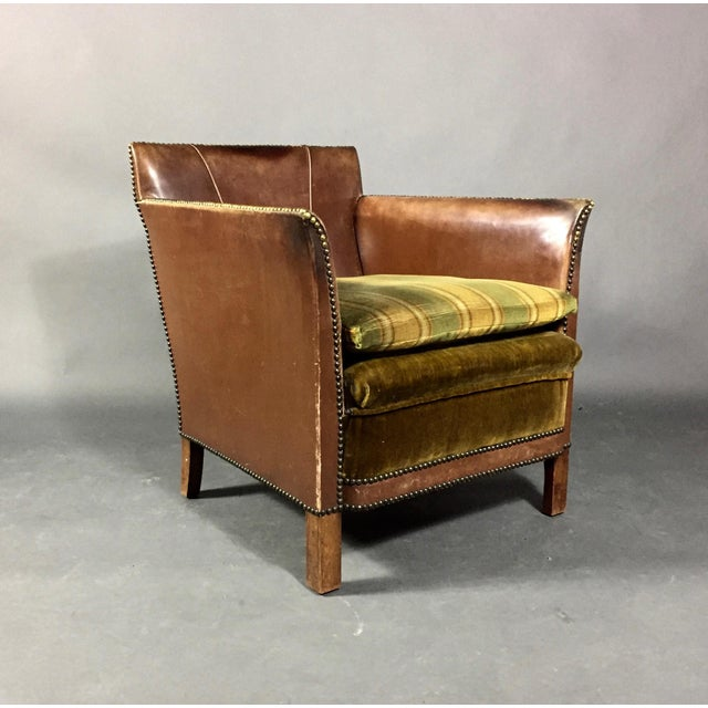 1940s Swedish Square-Back Leather Club Chair For Sale - Image 11 of 11