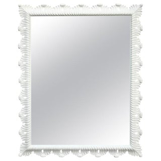 Hollywood Regency White Lacquered Scalloped Mirror For Sale