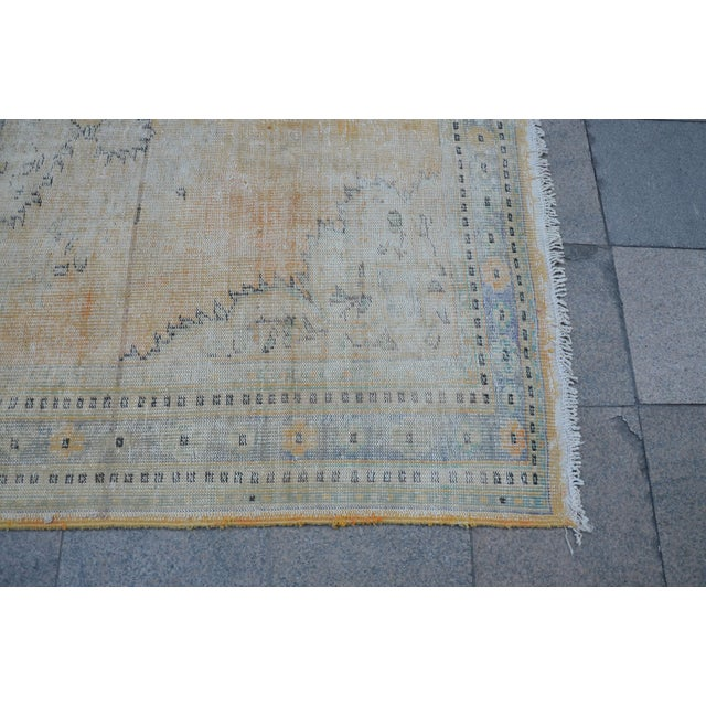 """Faded Bohemian Turkish Area Carpet - 69"""" x 110"""" For Sale - Image 6 of 7"""