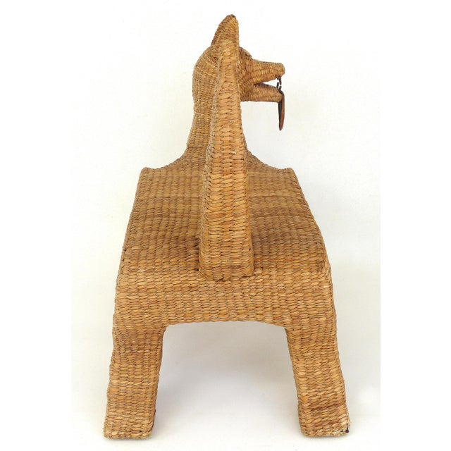 Copper 1970s Mexican Mario Lopez Torres Woven Reed & Copper Coyote Bench For Sale - Image 7 of 12