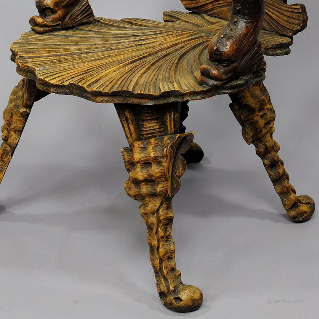 Antique Wooden Carved Grotto Armchair Ca. 1880 For Sale - Image 4 of 9