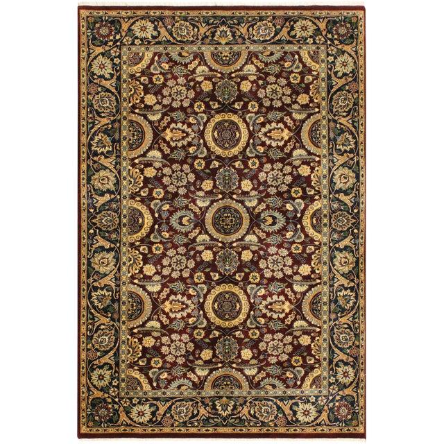 Agra Tabriz 16x18 Veg. Pak-Persian Lisabeth Purple/Blue Wool Rug - 4'7 X 7'3 For Sale
