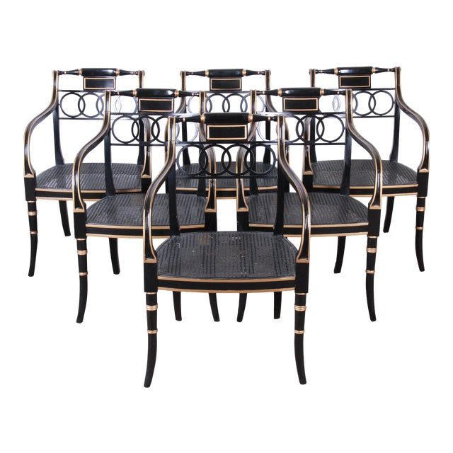 Baker Furniture Ebonized and Gold Gilt Regency Style Armchairs-Set of Six For Sale