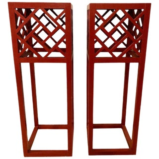 Pair of Tall Red Painted Asian Inspired Standing Pedestals For Sale