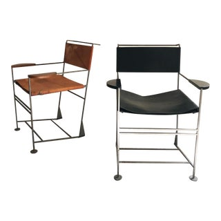 Kevin Walz Post Modern Leather & Iron Lounge Chairs- A Pair For Sale