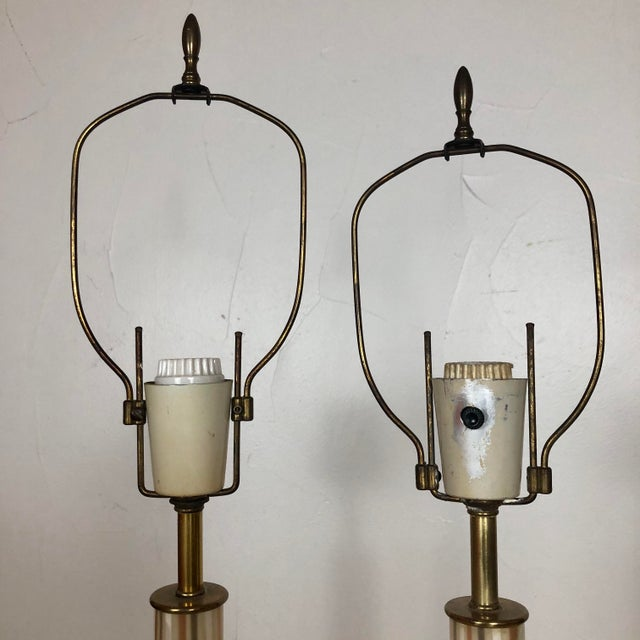 1950s Italian Murano Hand Blown Glass Lamps - a Pair For Sale - Image 9 of 13