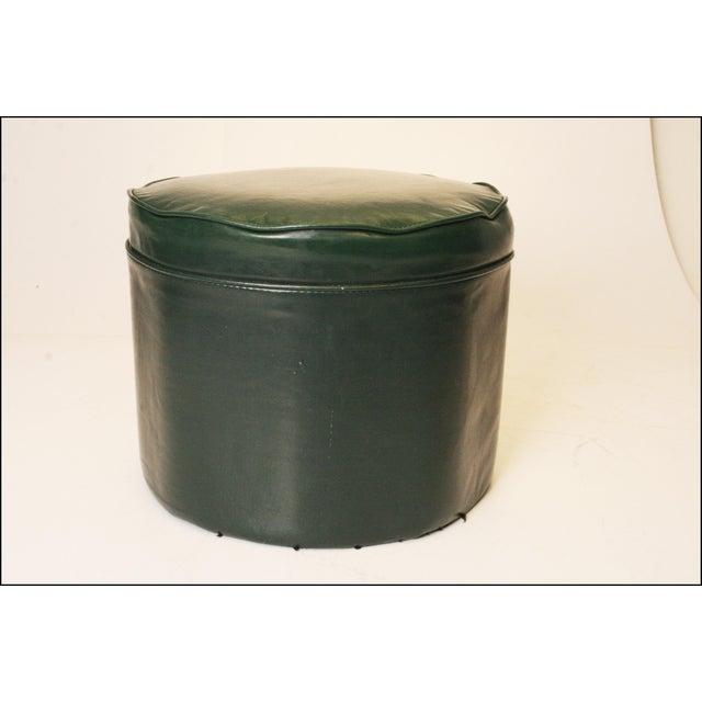 Mid Century Modern Dark Green Vinyl Ottoman - Image 2 of 11
