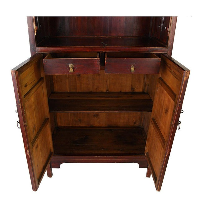 Wood Chinese Antique Carved Wan LI Display Cabinet For Sale - Image 7 of 11