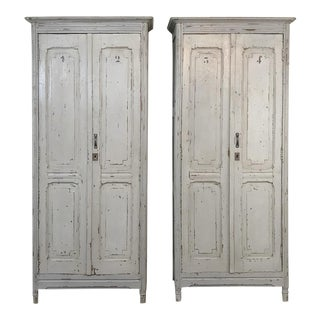 Antique Painted Wooden Locker Cabinets-a Pair For Sale