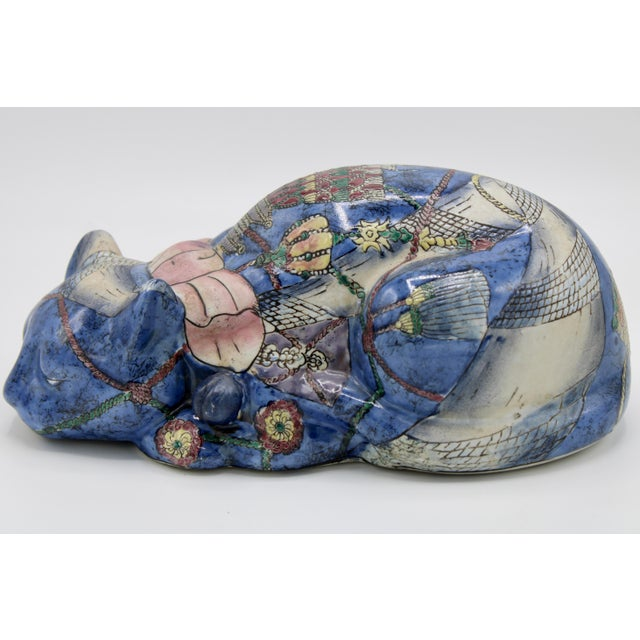 Mid 20th Century Chinoiserie Blue Ceramic Cat For Sale - Image 13 of 13