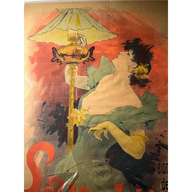 Art Nouveau Original French Color Lithograph Poster for Saxoléïne by Jules Chéret, 1893 For Sale - Image 3 of 11