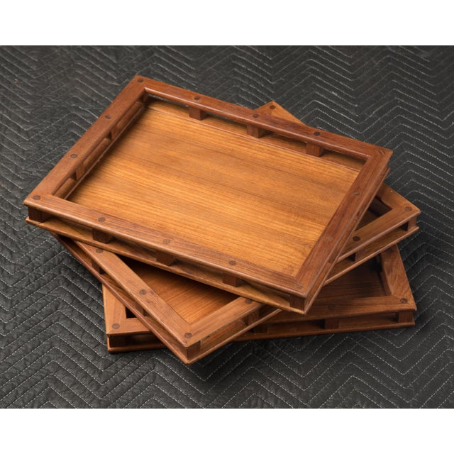 A very nice set of three Dansk Design 00801 host trays. Wonderful attention to detail, the gallery sides feature square...