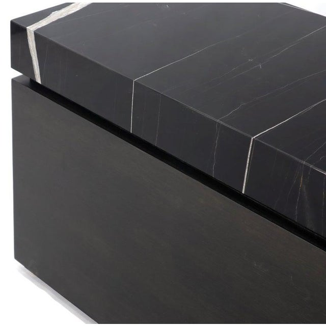 Early 21st Century Black Marble Top Black Lacquer Contemporary Short Credenza Console For Sale - Image 5 of 13