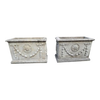 Antique Stone Garden Planters- a Pair For Sale